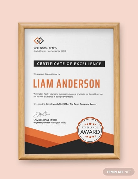 free simple certificate of excellence