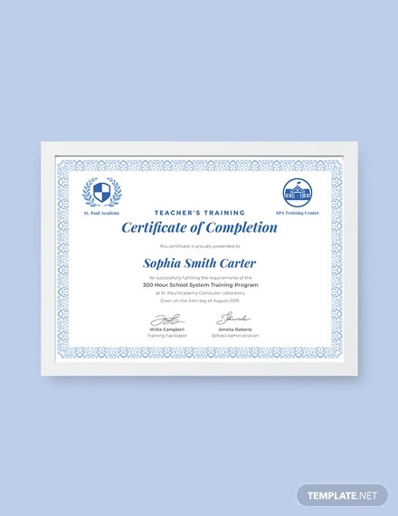 free teacher training completion certificate