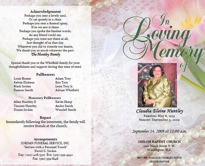Memorial Brochure Template Funeral Program Template Back And Front