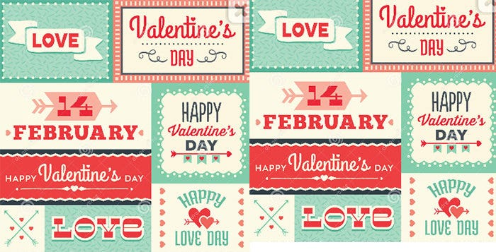 hipster valentines day typographic labels