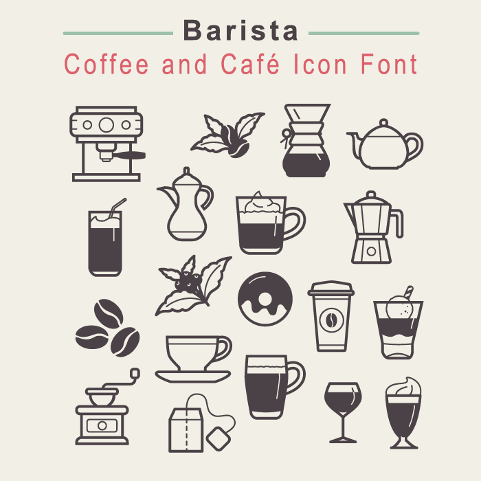 Coffee and Cafe Icon Font