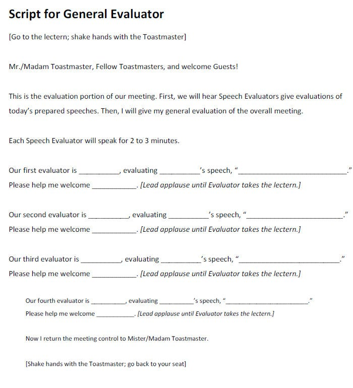 Toastmaster Evaluation Template   Free Word Pdf Documents