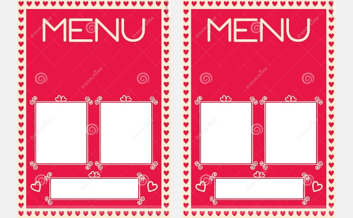 valentine s menu template heart borders
