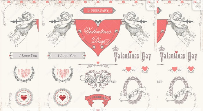 valentines day labels icons elements