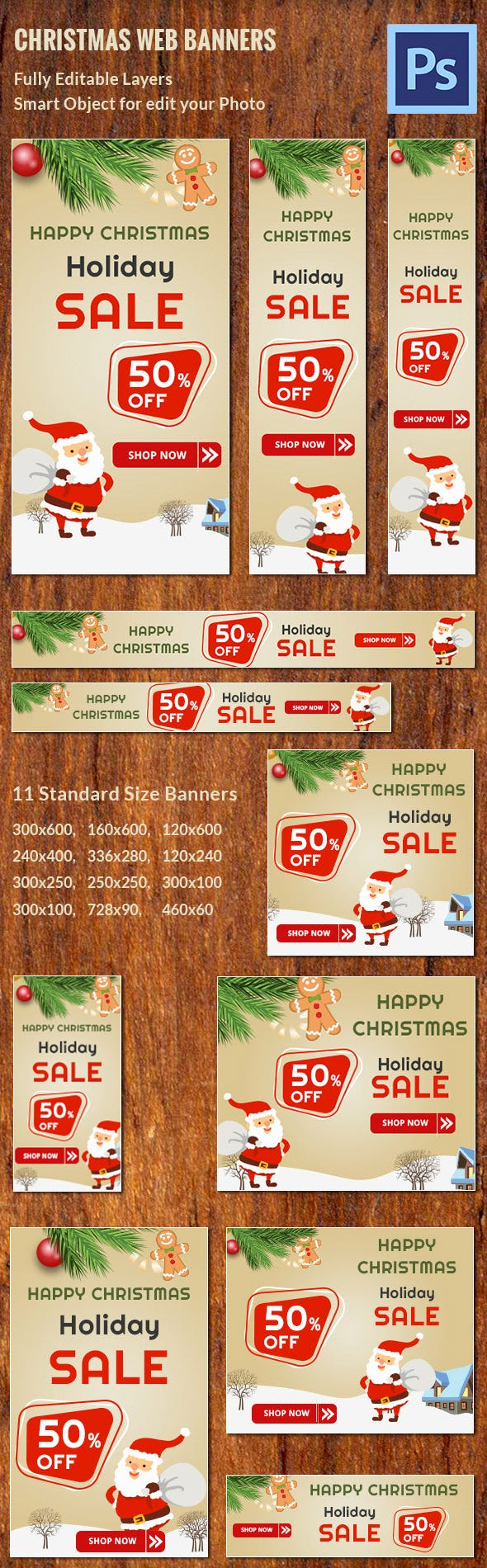 Christmas Web Ad Banners Customizable