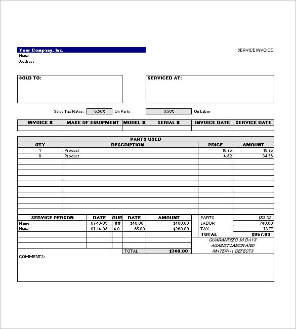 Simple Invoice Template Of Service Excel Format Download  Free Service Invoice