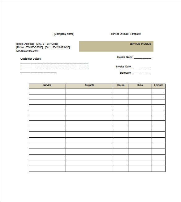Service Invoice Templates 11 Free Word Excel PDF Format – Receipt for Services Template
