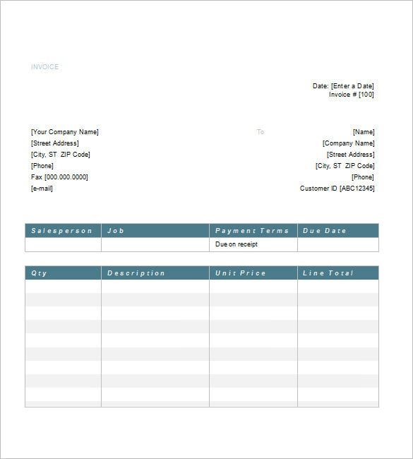 Service Invoice Templates Free Word Excel PDF Format - Invoice format in word doc for service business
