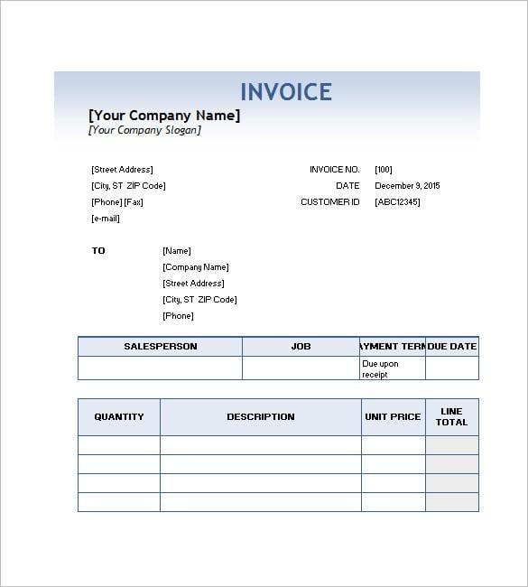 Sample Service Invoice Template Datariouruguay