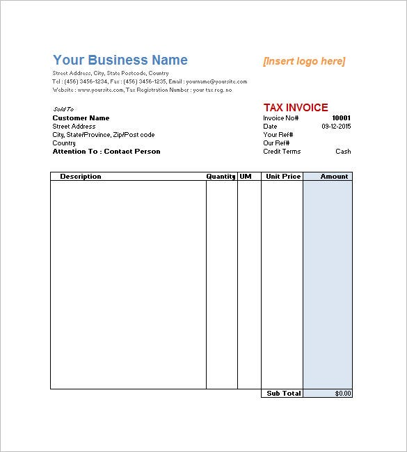 Service Invoice Templates Free Word Excel PDF Format - Simple invoice format in excel for service business