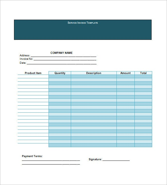 service invoice free template download