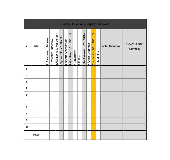 sales tracking blank spreadsheet