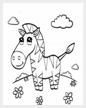 Adorable Preschool Zebra Coloring Page