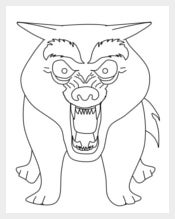 Angry Wolf Coloring Page Template