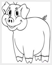 Cartoon Pig Coloring Page