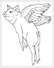 Flying Pig Coloring Page