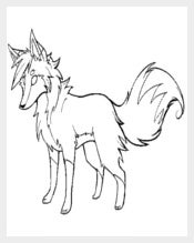 Fox Line Art Template