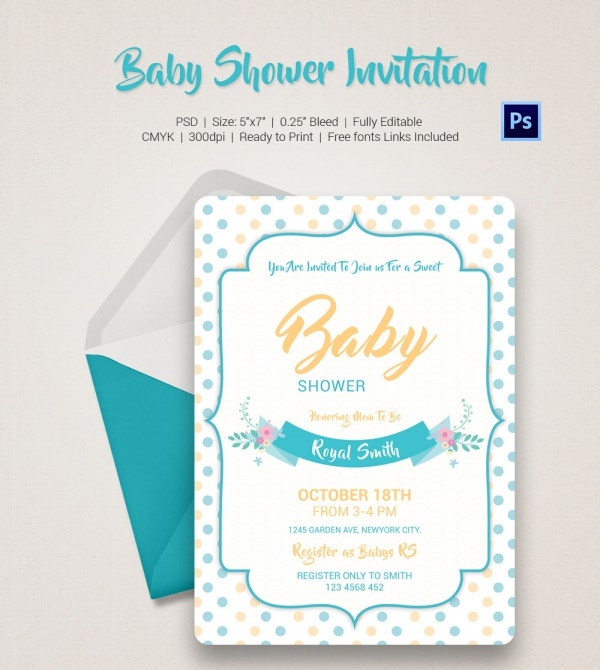 Baby Shower Invitation Template 22 Free PSD Vector EPS AI – Baby Shower Invitation Templates Word
