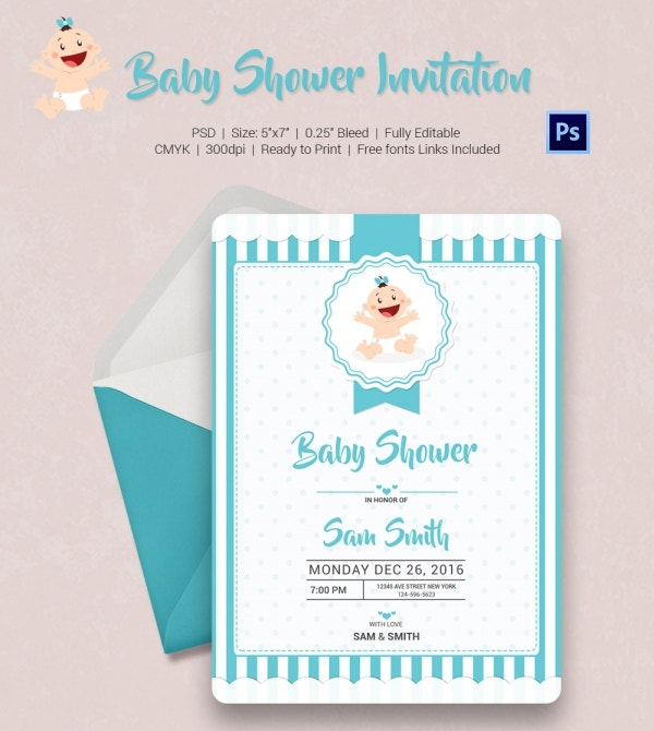 Simple Blue Baby Shower Invitation Template