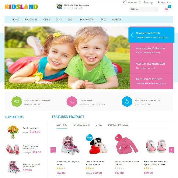 free responsive kids store magento template