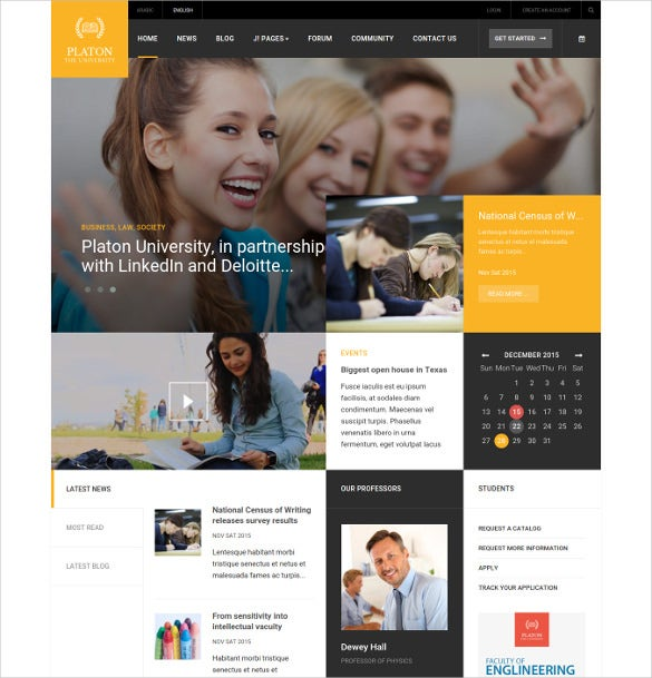 free educational university website magento template