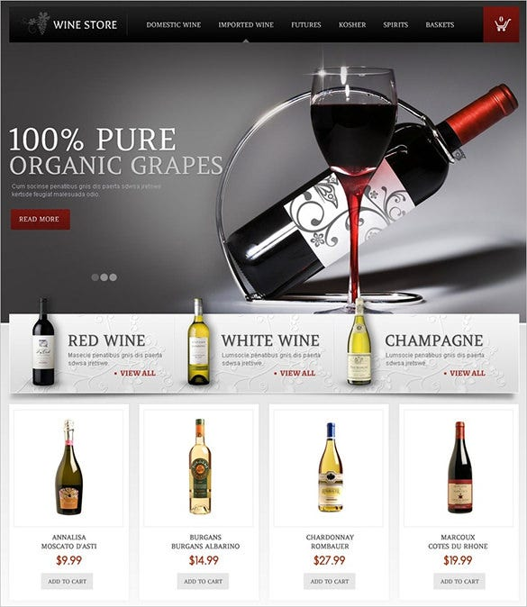 restaurant and bar wine store magento template