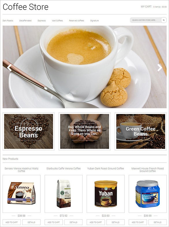 est magento theme for coffee stor