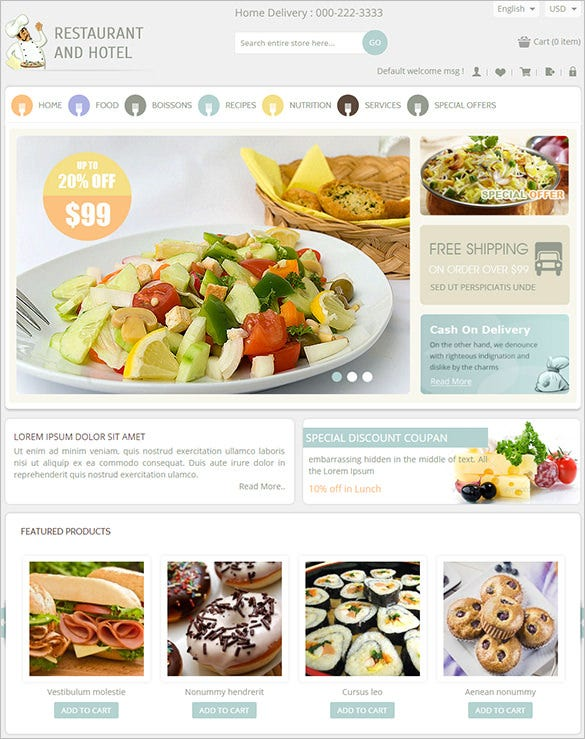 responsive magento theme for restaurant1