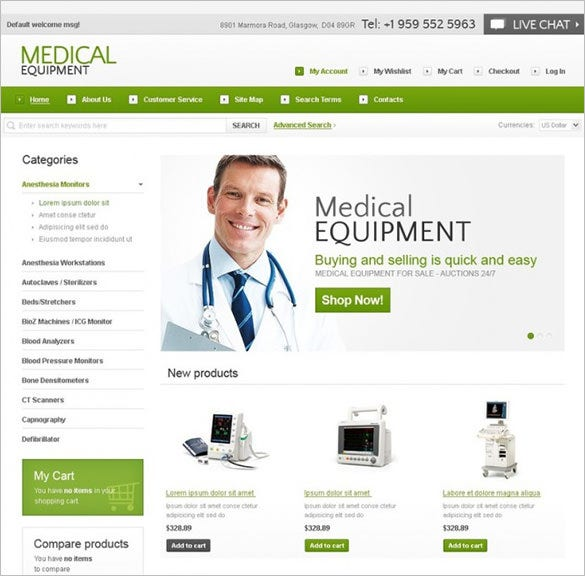 medical equipment store magento template1