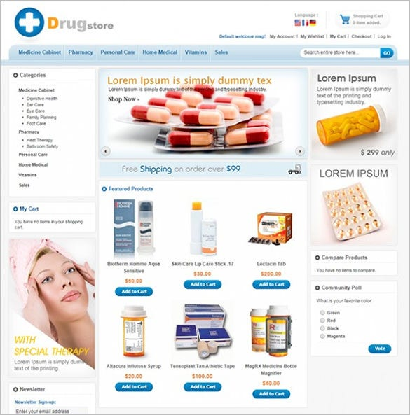 magento theme for medical stores drug store