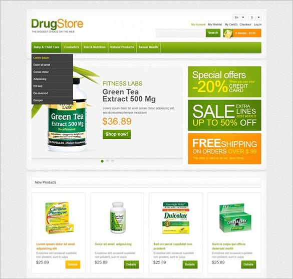 magento theme for drug store