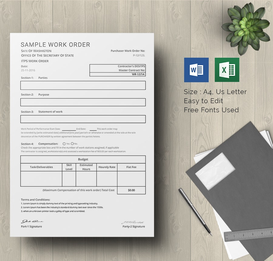 Sample Work Order Template Download