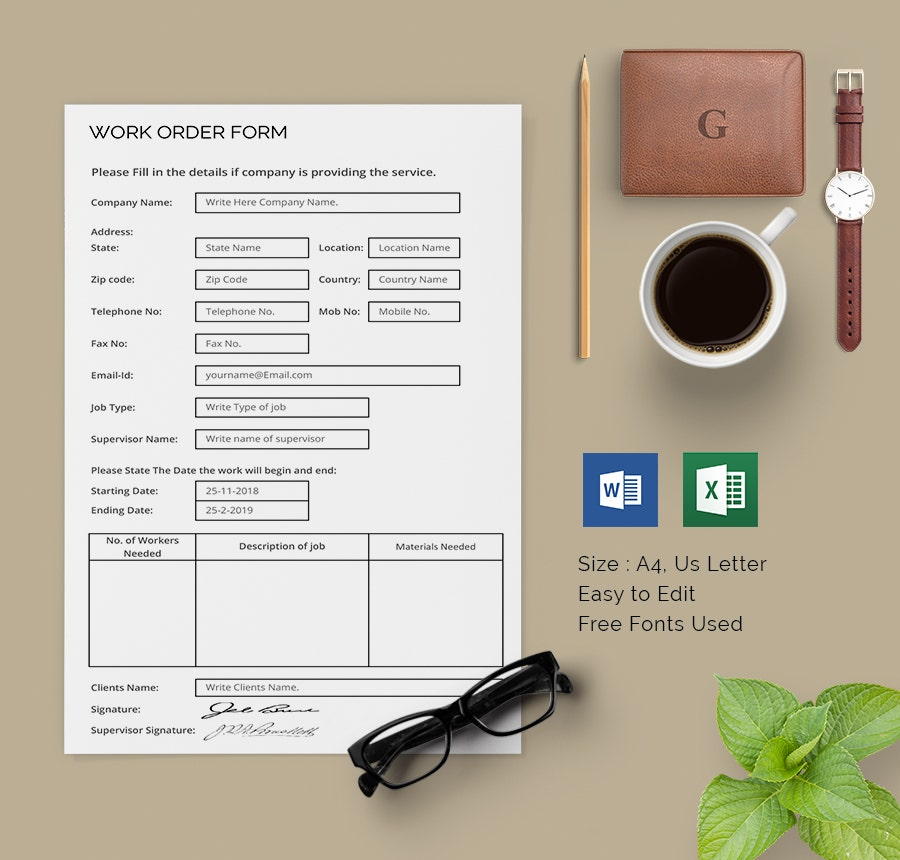 Work Order Template   Free Word Excel Pdf Document Download