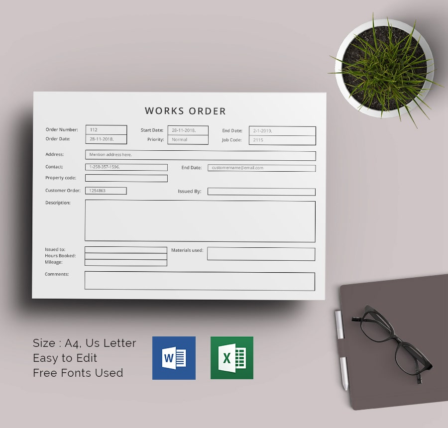 Work Order Template Printable Download