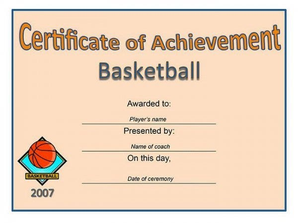 68 free printable certificate template examples in pdf word certificate of achievement basketball1 yadclub Images