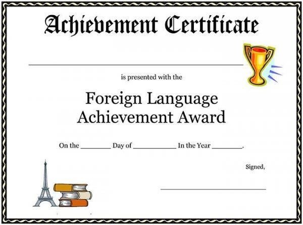 68 free printable certificate template examples in pdf word free award certificate template foreign language achievement award certificate1 yadclub