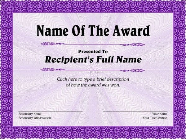 Free Template For Certificate 68 Free Printable Certificate Template  Examples In Pdf Word .