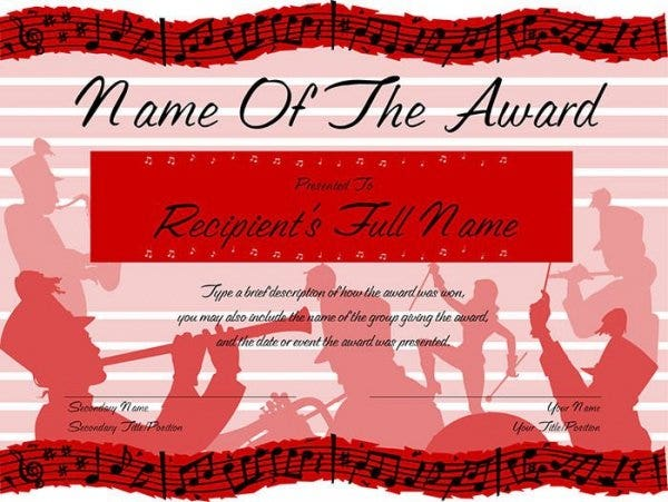 red marching band award certificate11