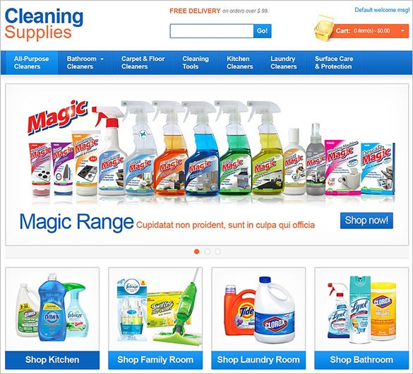 cleaning supplies magento them
