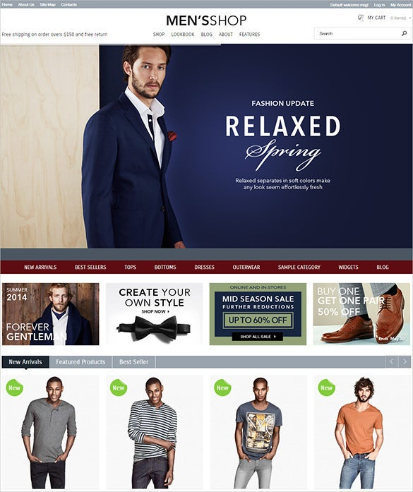 mens shop magento template