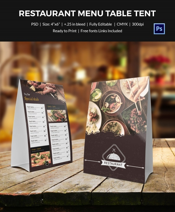 Table tent template 37 free printable pdf jpg psd for Restaurant table menu