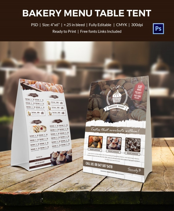 bakery menu table tent