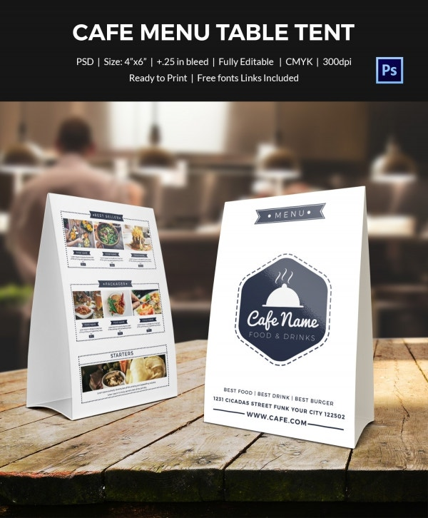 cafe menu 2 table tent