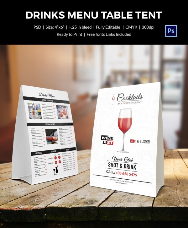 drinks menu table tent