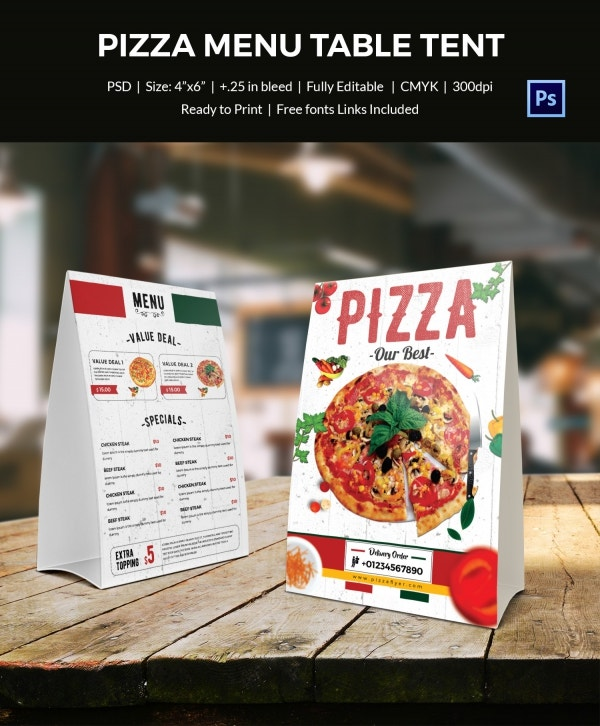 pizza menu table tent