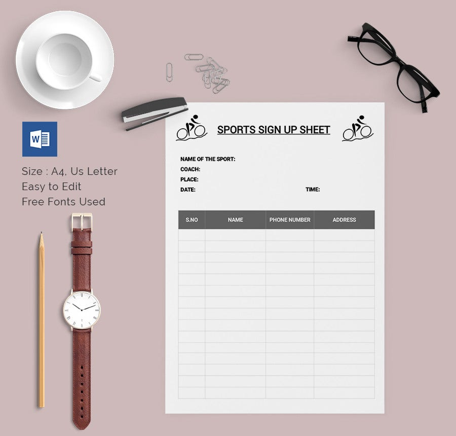 Doc680800 Free Sign Up Sheet Template 28 Sign Up Sheets Free – How to Make a Signup Sheet on Word