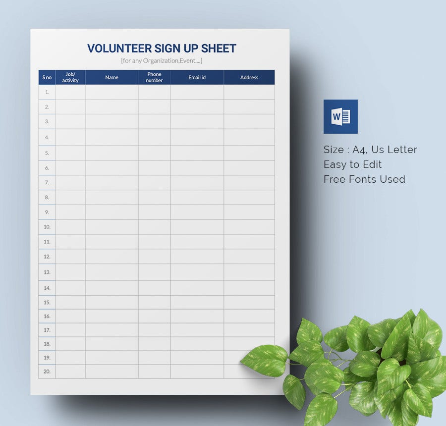 Doc610487 Volunteer Sign Up Sheet Template Sign Up Sheets – How to Make a Signup Sheet on Word
