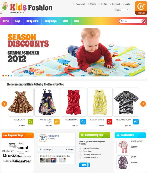responsive kids fashion store magento template