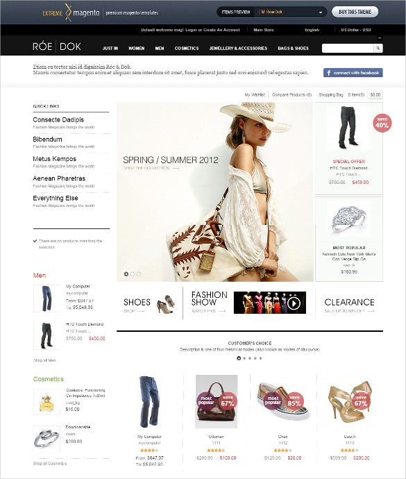 excellent fashion store magento theme