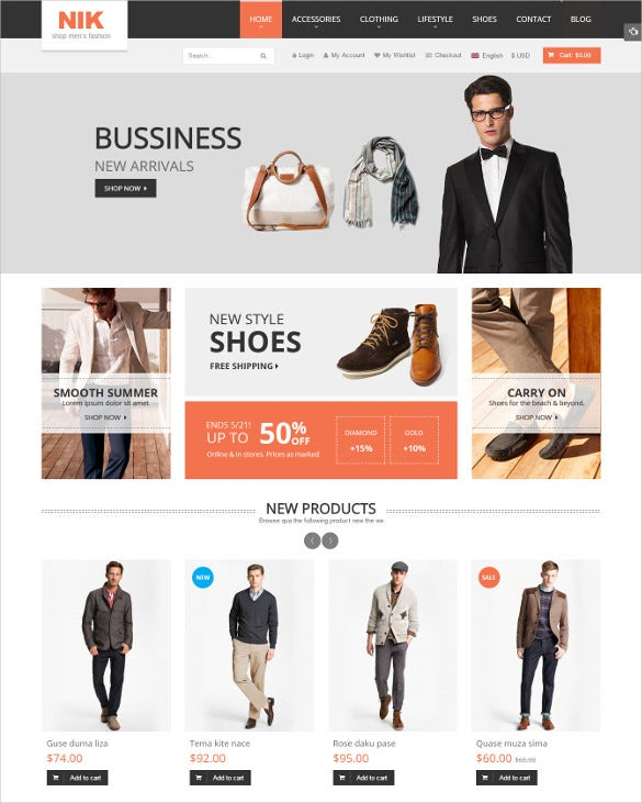 responsive mens online fashion shop magento theme